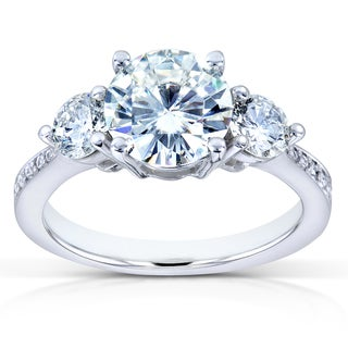 Annello by Kobelli 14k White Gold Forever One Moissanite and 3/5ct TDW Diamond Three Stone Engagemen