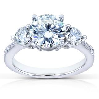 Annello by Kobelli 14k White Gold Forever One Moissanite and 3/5ct TDW Diamond Three Stone Engagemen