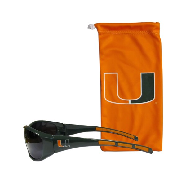 NCAA Sports Team Logo Miami Hurricanes Sunglasses and Bag Set