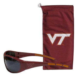 NCAA Sports Team Logo Virginia Tech Hokies Burgundy Sunglass and Bag Set