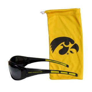 NCAA Sports Team Logo iowa Hawkeyes Black/Yellow Sunglass and Bag Set