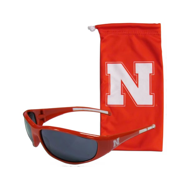 NCAA Sports Team Logo Nebraska Cornhuskers Sunglass and Bag Set