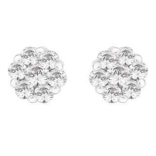 14k White Gold 1/10ct TDW Diamond Cluster Flower Stud Earrings