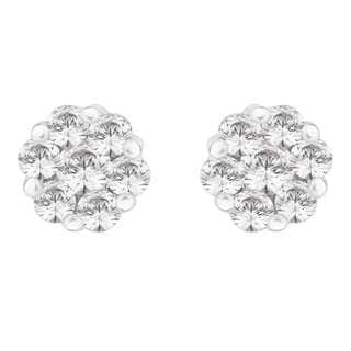 14k White Gold 1/2ct TDW Diamond Cluster Flower Stud Earrings