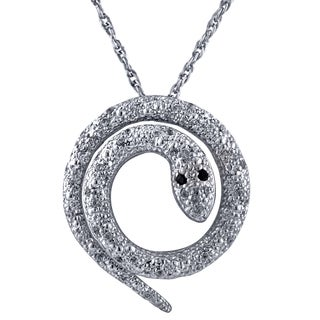 Sterling Silver 0.26CTtw Round Snake Diamond Pendant Necklace (I2-I3)