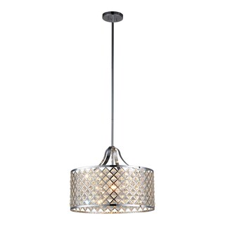 OVE Decors Baker II Chrome Finish Iron LED Integrated 4-light Pendant