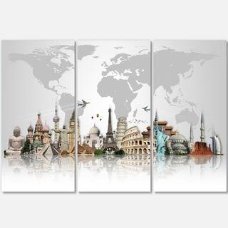Famous Monuments Across World - Art Glossy Metal Wall Art - 36x28