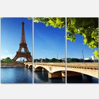 Bridge to Paris Eiffel Tower Paris - Cityscape Glossy Metal Wall Art - 36x28