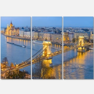 Chain Building and Parliament in Budapest - Cityscape Glossy Metal Wall Art - 36x28