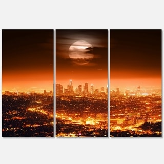 Dramatic Full Moon over Los Angeles - Cityscape Glossy Metal Wall Art - 36x28