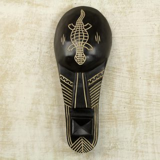 Handcrafted Sese Wood 'Knowledge Is Power' African Wall Mask (Ghana)