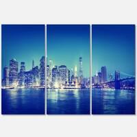 Blue New York City at Night Panorama - Cityscape Glossy Metal Wall Art - 36x28