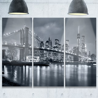 Panorama New York City at Night - Cityscape Glossy Metal Wall Art - 36x28