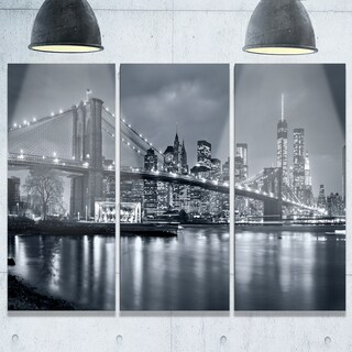 Panorama New York City at Night - Cityscape Glossy Metal Wall Art - 36x28