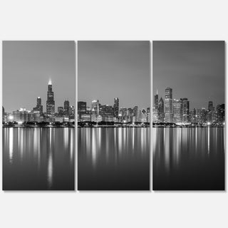 Chicago Skyline at Night Black and White - Cityscape Glossy Metal Wall Art - 36x28