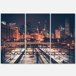 Dark Chicago Skyline and Railroad - Cityscape Glossy Metal Wall Art - 36x28 - Multi - 36 x 28