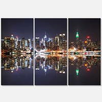 New York City Skyscrapers in Blue Shade - Cityscape Glossy Metal Wall Art - 36x28