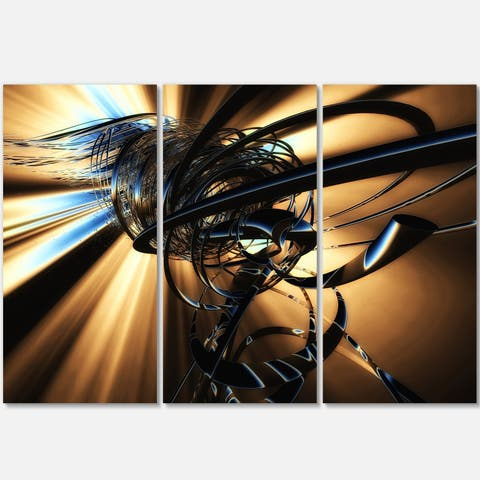 Fractal 3D Dark Brown Tangle - Abstract Art Glossy Metal Wall Art - 36 in. wide x 28 in. high - 3 panels