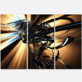 Fractal 3D Dark Brown Tangle - Abstract Art Glossy Metal Wall Art
