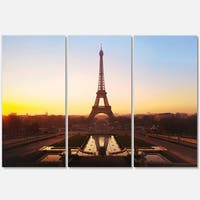 Brown Silhouette of Paris Eiffel Tower - Cityscape Glossy Metal Wall Art - 36x28