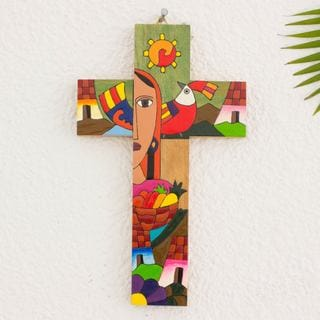 Handcrafted Pinewood 'Blessed Mary' Wall Cross (El Salvador)