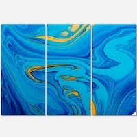 Light Blue Abstract Acrylic Paint Mix - Abstract Glossy Metal Wall Art