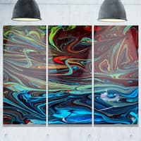 Red Blue Abstract Acrylic Paint Mix - Abstract Glossy Metal Wall Art