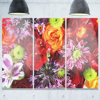 Colorful Flowers Background - Large Floral Glossy Metal Wall Art