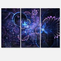 Dark Blue and Pink Fractal Flowers - Large Floral Glossy Metal Wall Art