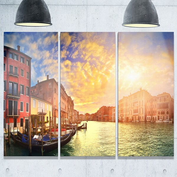 Majestic Sunset over Venice - Cityscape Glossy Metal Wall Art ...