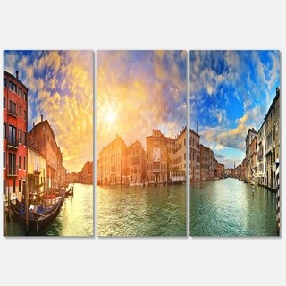 Grand Canal Venice Panorama - Cityscape Glossy Metal Wall Art - 36x28