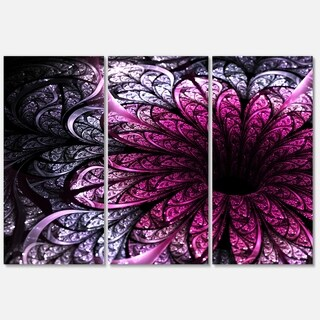Dark Purple Fractal Flower Digital Art - Large Floral Glossy Metal Wall Art
