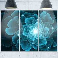 Fractal Flower Clear Blue Digital Art - Large Floral Glossy Metal Wall Art