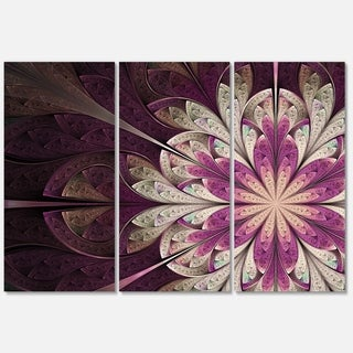 White Purple Rounded Fractal Flower - Large Floral Glossy Metal Wall Art