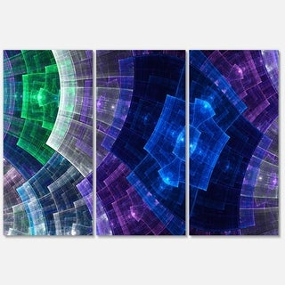 Blue and Green Fractal Flower Grid - Abstract Glossy Metal Wall Art