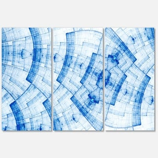 Light Blue Fractal Flower Grid - Abstract Glossy Metal Wall Art