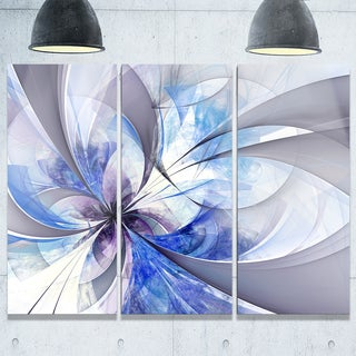 Blue Large Symmetrical Fractal Flower - Modern Floral Glossy Metal Wall Art