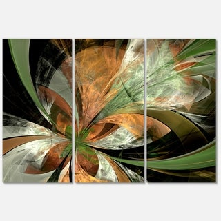 Orange and Green Large Fractal Flower - Modern Floral Glossy Metal Wall Art
