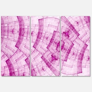 Light Pink Psychedelic Fractal Metal Grid - Abstract Glossy Metal Wall Art