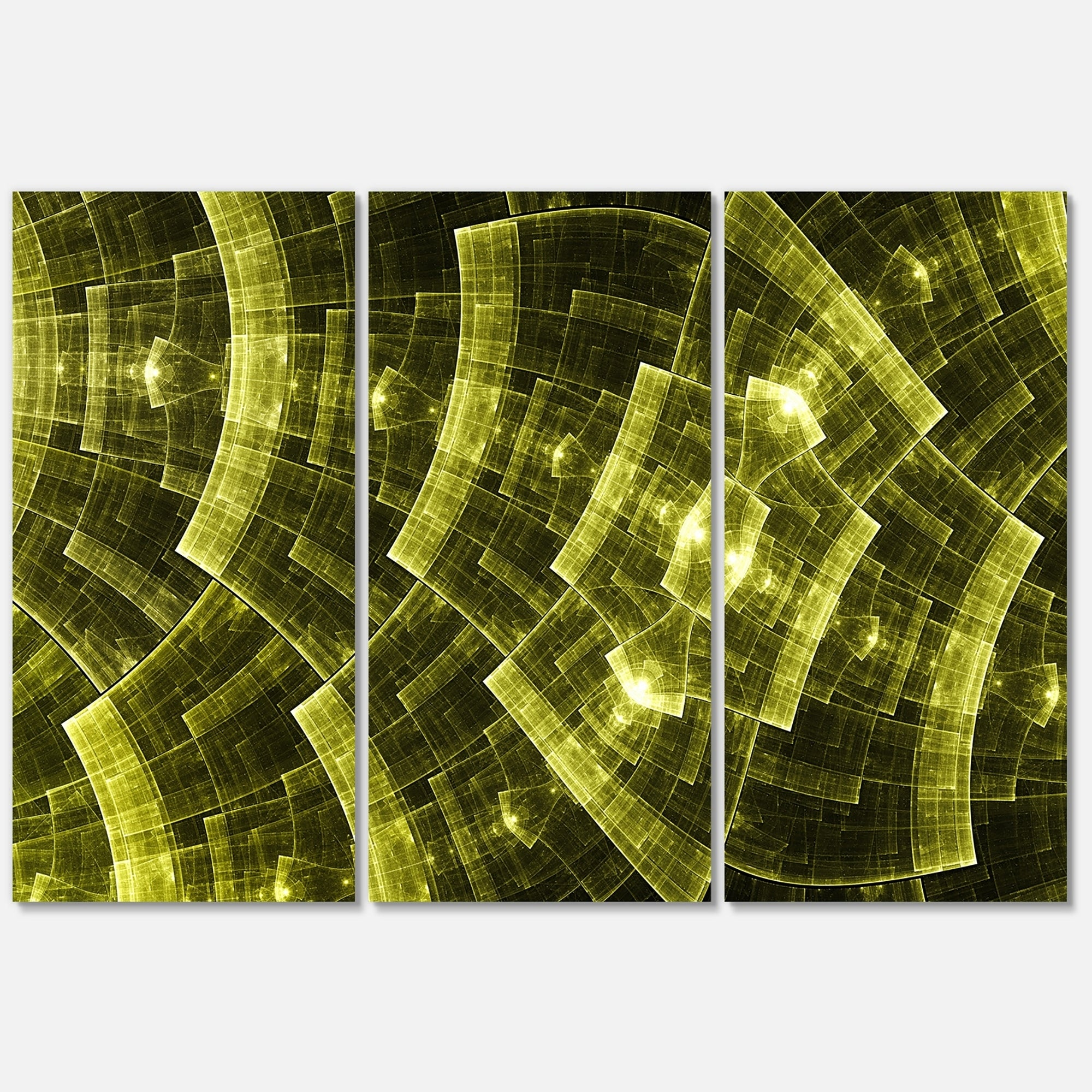 Golden Psychedelic Fractal Metal Grid Art - Abstract Glossy Metal ...