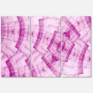 Dark Pink Psychedelic Fractal Metal Grid - Abstract Glossy Metal Wall Art