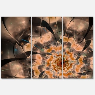 Brown Fractal Flower Petals Close-up - Floral Glossy Metal Wall Art