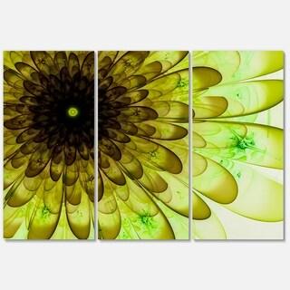 Light Green Digital Flower Petal Close-up - Floral Glossy Metal Wall Art