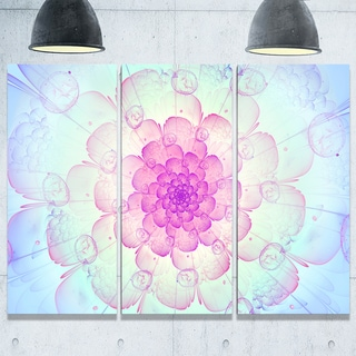 Blue Fractal Flower with Soft Petals - Floral Glossy Metal Wall Art
