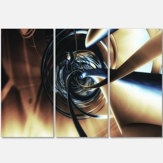 Fractal 3D Tangled Center - Abstract Art Glossy Metal Wall Art