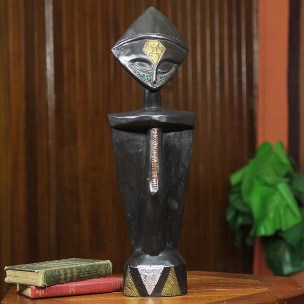 Handcrafted Sese Wood 'Helper' Fertility Doll Sculpture (Ghana)