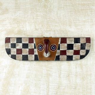 Handcrafted Sese Wood 'Butterfly Colors' African Wall Mask (Ghana)