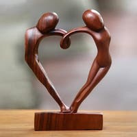 Handcrafted Suar Wood 'Loop of Love' Sculpture (Indonesia)