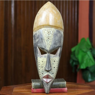 Handcrafted Sese Wood 'Have a Good Life' African Wall Mask (Ghana)