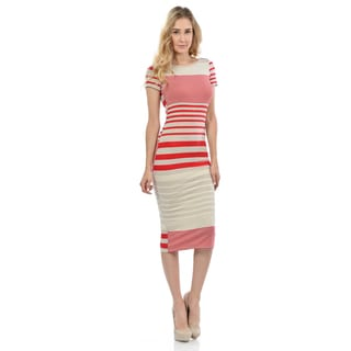 Women's Striped Plunge-back Dress